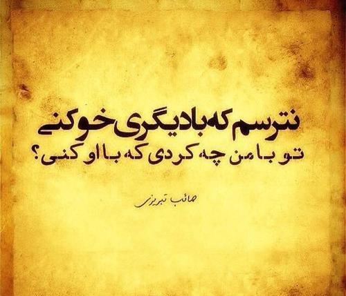نترسم که بادیگری خو کنی صائب تبریزی