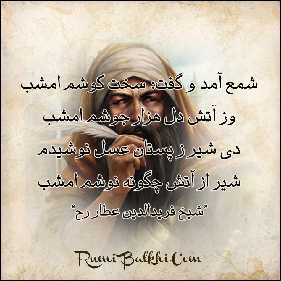 شمع آمد و گفت سخت کوشم امشب شیخ فرید الدین عطار