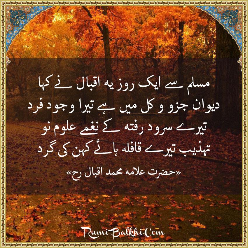 مسلم سے ایک روز یہ اقبال نے کہا