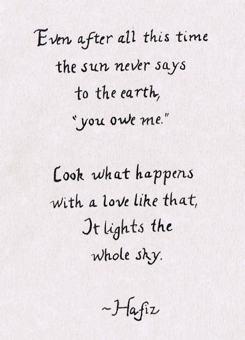It Lights The Whole Sky By Hafiz