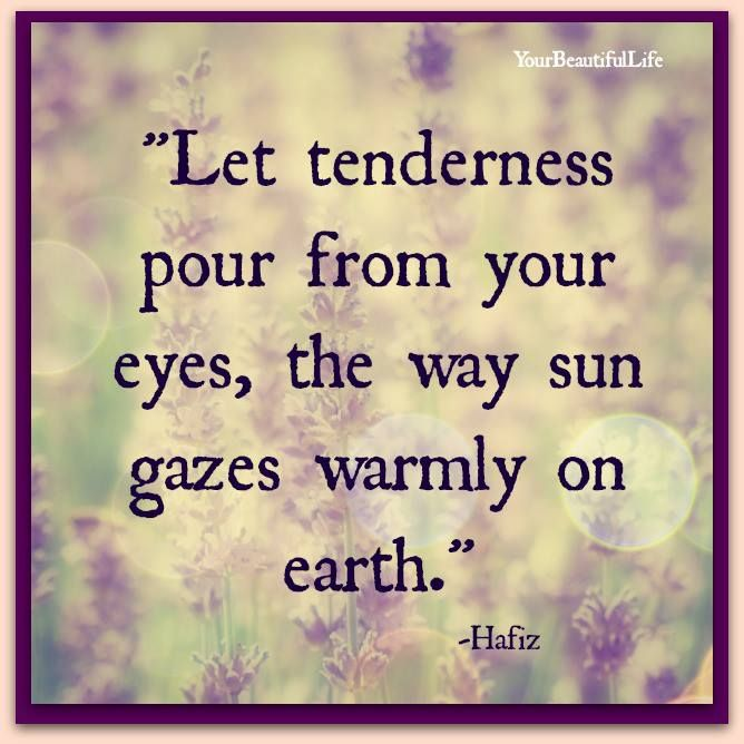 Let Tenderness Pour From Your Eyes The Way Sun Gazes Warmly On Earth By Hafiz