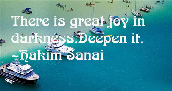 There Is A Great Joy In Darkness Sanai Ghaznavi